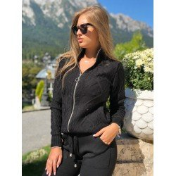 Trening dama negru lung din material tricotat