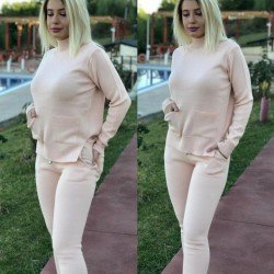 Trening dama roz prafuit lung tricotat cu buzunare