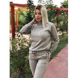 Trening dama bej lung tricotat cu imprimeu