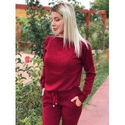 Trening dama visiniu tricotat lung cu imprimeu