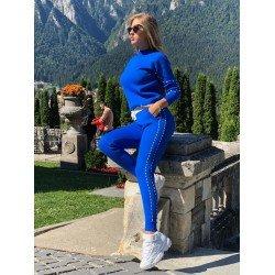 Trening dama albastru tricotat cu buzunare