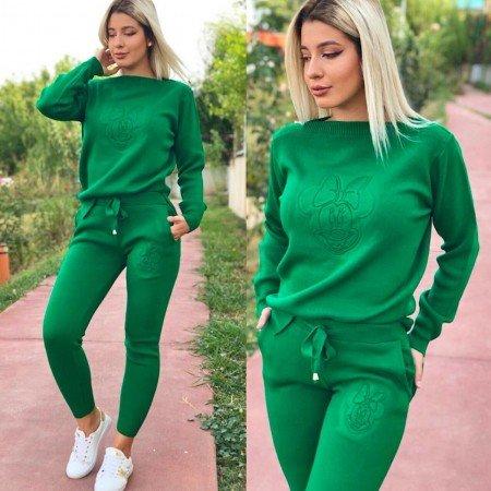 Trening dama verde din tricot cu imprimeu Minnie
