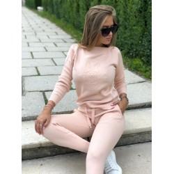 Trening dama roz gros tricotat cu imprimeu