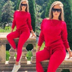 Trening dama visiniu tricotat cu imprimeu Minnie