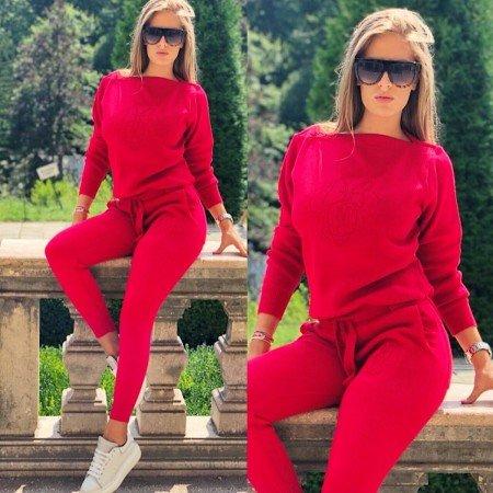 Trening dama rosu tricotat cu imprimeu Minnie