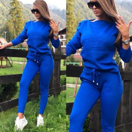 Trening dama albastru tricotat cu imprimeu Princess