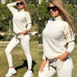 Trening dama tricotat crem lung cu buzunare