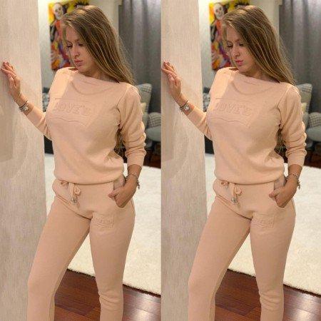 Trening dama lung roz pudra din tricot cu imprimeu
