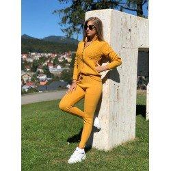 Trening dama tricotat galben mustar cu buzunare