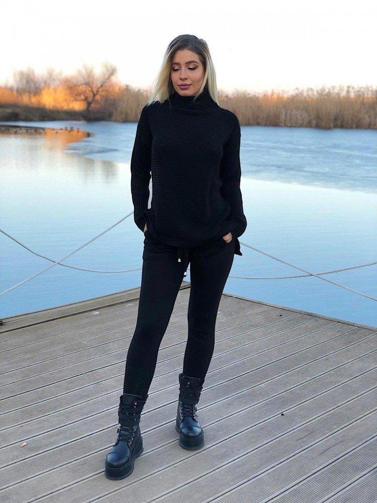 Trening dama negru lung tricotat cu buzunare