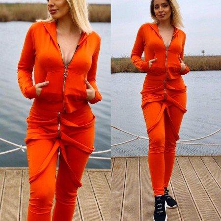 Trening dama lung cu buzunare de culoare portocalie