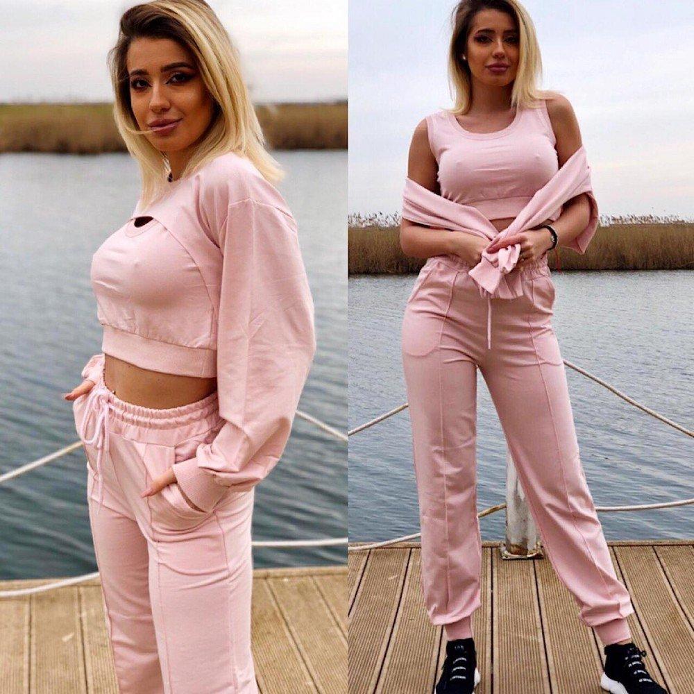 Compleu dama roz din 3 piese din bumbac casual