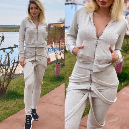 Trening dama crem lung cu model trendy
