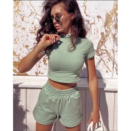 Compleu dama verde pentru vara din bumbac
