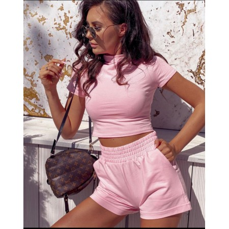 Compleu dama scurt roz pentru vara din bumbac