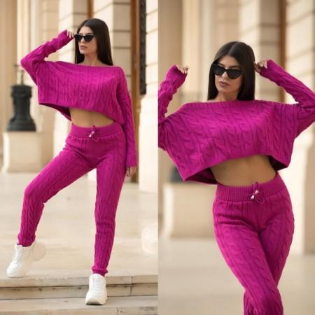Trening dama roz din material tricotat