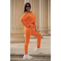 Trening dama orange din tricot casual