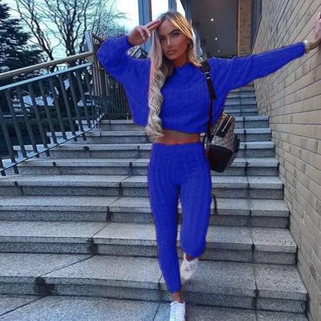 Trening dama albastru lung casual din tricot