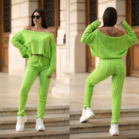 Trening dama verde neon lung casual din tricot impletit