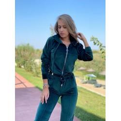 Trening dama verde smarald lung din catifea cu fermoare