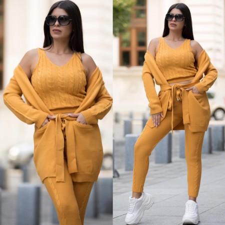 Compleu dama tricotat galben mustar compus din maiou + pantaloni + cardigan