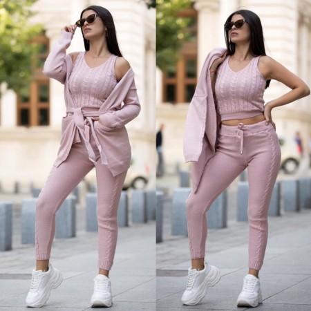 Compleu dama tricotat roz compus din maiou + pantaloni + cardigan