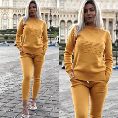 Trening dama lung galben mustar din tricot cu imprimeu Addicted