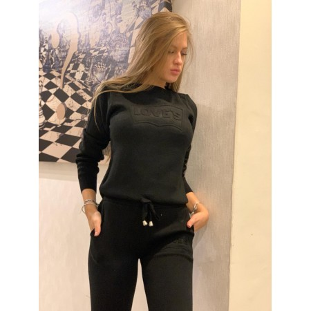 Trening dama lung negru din tricot cu imprimeu Love s