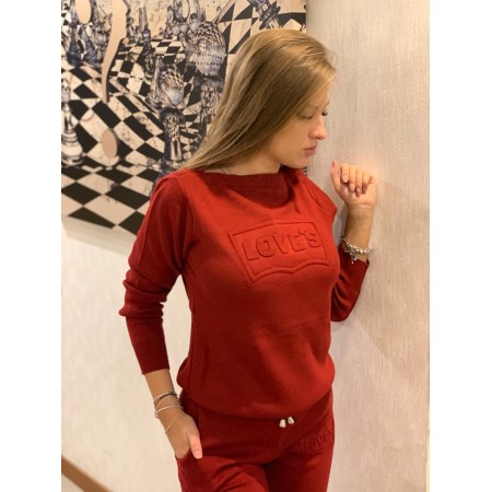 Trening dama lung visiniu din tricot cu imprimeu Love s