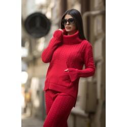 Compleu dama tricotat rosu pe gat cu pantalon evazat