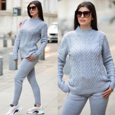 Trening dama lung gri cu buzunare din tricot
