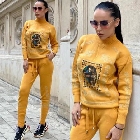 Trening dama galben mustar cu imprimeu din tricot