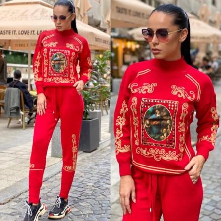 Trening dama rosu lung din tricot gros cu imprimeu