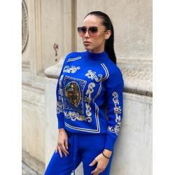 Trening dama albastru din tricot gros cu imprimeu