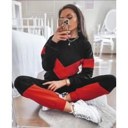 Trening dama bumbac premium negru cu model duo rosu