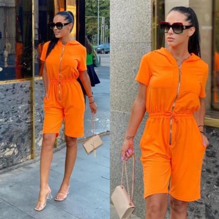 Compleu salopeta dama portocaliu neon cu gluga