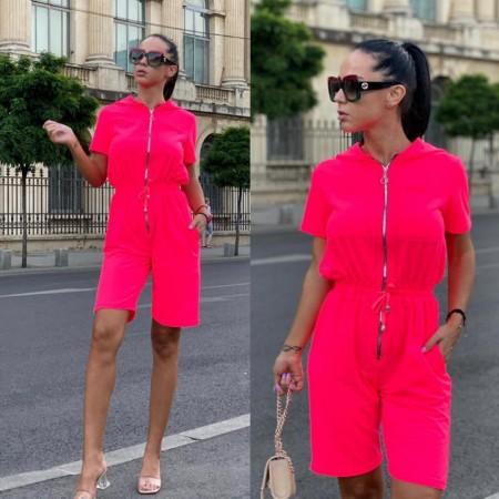 Compleu salopeta dama roz neon cu gluga