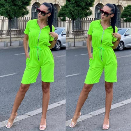 Compleu salopeta dama verde neon cu gluga