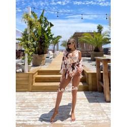 Set dama plaja Halat + Body cu imprimeu Elegant