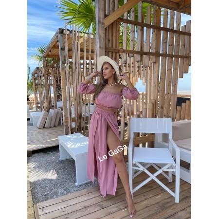 Set dama roz de plaja Bluza diafana - Fusta decupata