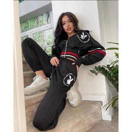 Compleu dama bumbac premium negru cu talie elastica