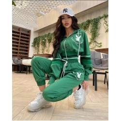 Compleu dama bumbac premium verde cu talie elastica