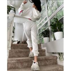 Compleu dama bumbac premium alb cu talie elastica