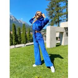 Trening dama albastru lung evazat din catifea