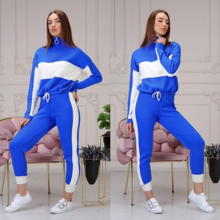 Compleu dama tricotat DUO albastru-alb