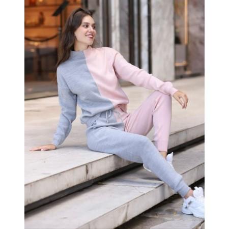 Compleu dama tricotat DUO Roz pudra-gri