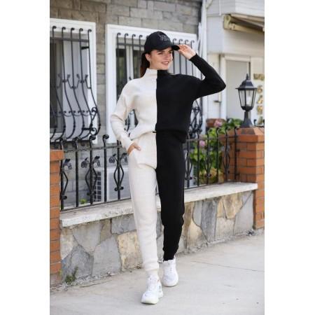 Compleu dama tricotat DUO Negru-alb