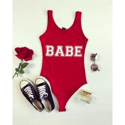 Body dama rosu din bumbac casual cu imprimeu Babe