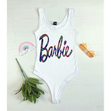 Body dama alb din bumbac cu imprimeu text Barbie