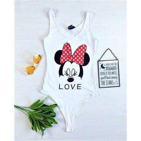 Body dama alb casual cu imprimeu Mickey din bumbac